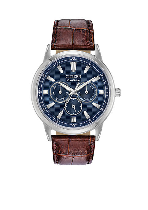 Citizen Mens Stainless Steel Sport Dial Eco-Drive Leather