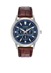 Men's Stainless Steel Sport Dial Eco-Drive Leather Strap Watch