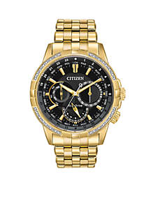 Citizen Gold-Tone Eco-Drive Calendrier Diamond Accent Watch