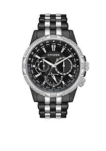 Citizen Two-Tone IP Citizen Eco-Drive Calendrier Diamond Accent Watch
