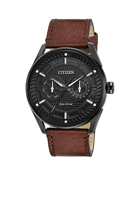 Mens Drive From Citizen Eco-Drive Stainless Steel Watch with Date and Brown Leather Strap