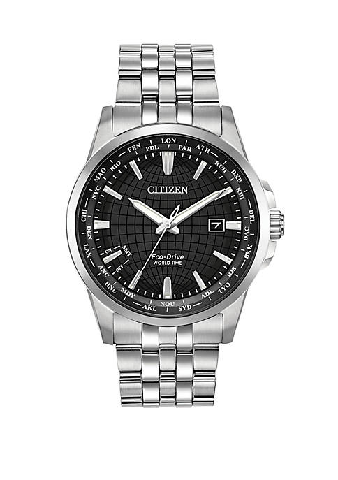 Eco Drive Mens World Time Stainless Steel Bracelet Watch