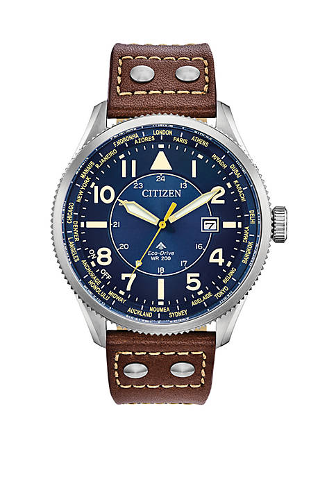 Mens Stainless Steel Eco Drive Promaster Nighthawk Leather Watch