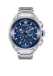 Men's Eco-Drive Silver-Tone Stainless Steel Bracelet Watch