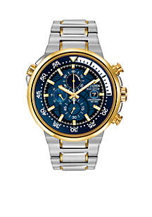 Men's Eco-Drive Two Tone Stainless Steel Endeavor Chronograph Watch