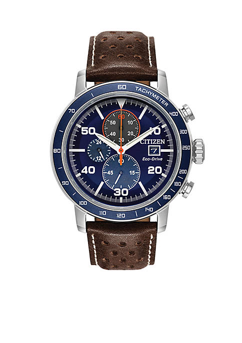 Citizen Mens Stainless Steel Brycen Eco-Drive Leather Strap