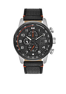 Chronograph Leather Date Watch