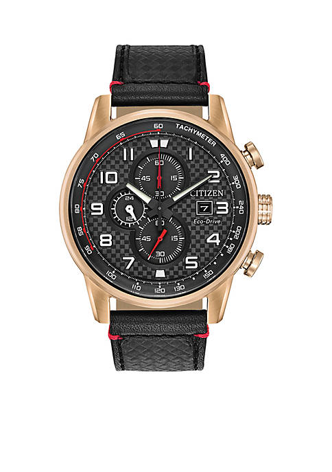 Belk & Co. Mens Primo Chronograph Black Leather