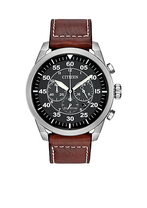 Citizen Mens Eco-Drive Avion Stainless Steel And Brown