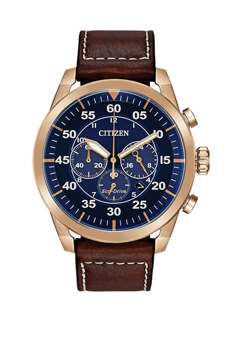 Citizen Mens Avion Brown Leather Strap Watch