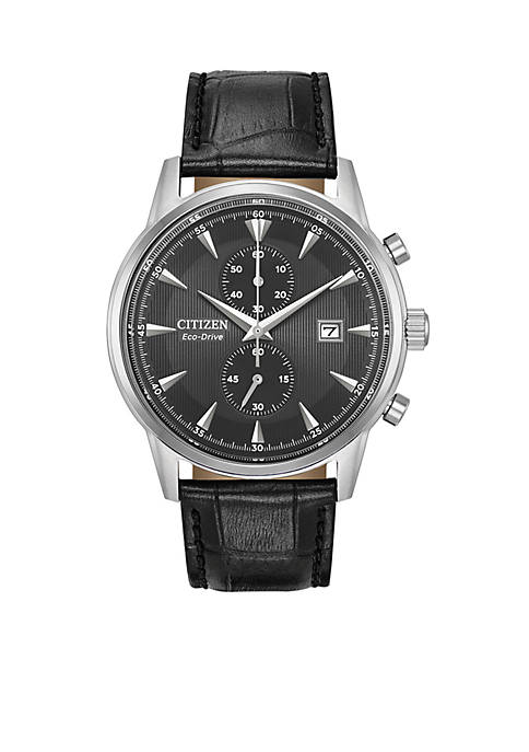 Citizen Mens Eco-Drive Stainless Steel Black Leather Watch