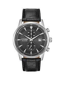 Men's Eco-Drive Stainless Steel Black Leather Watch