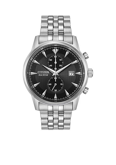 Mens Citizen Eco-Drive Stainless Steel Watch with Date