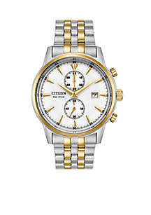 Men's Eco-Drive Two-Tone Stainless Steel Bracelet Watch