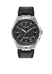 Citizen Men's Stainless Steel Eco-Drive World Perpetual A-T Atomic Timekeeping Leather Strap Watch