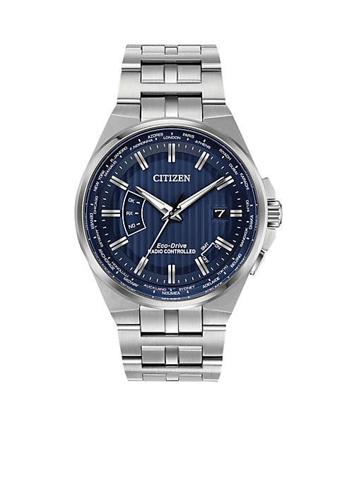 Citizen Mens Silver-Tone Stainless Steel Navy Dial Eco-Drive