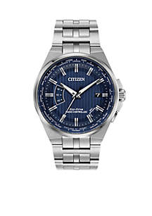 Citizen Men's Silver-Tone Stainless Steel Navy Dial Eco-Drive World Perpetual A-T Atomic Timekeeping Watch