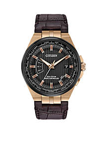 Citizen Men's Perpetual A-T Atomic Timekeeping Brown Leather Watch