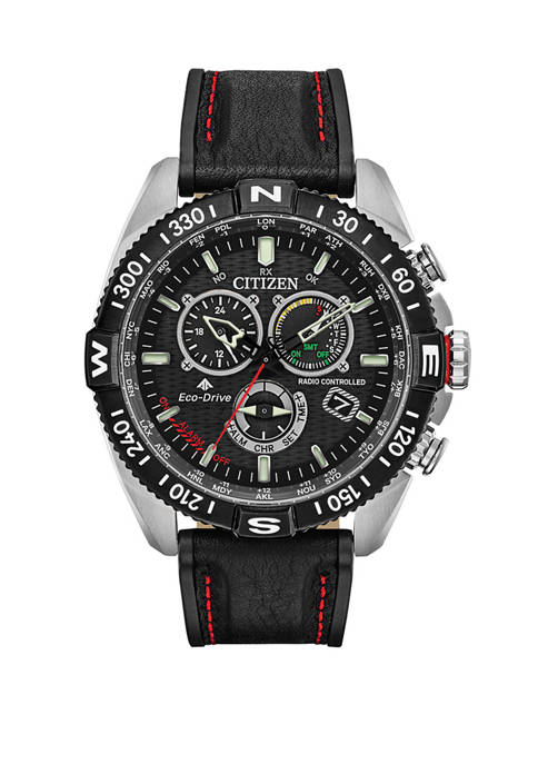 Citizen Promaster Navihawk Mens Black Leather Strap Watch