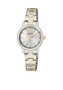 Women's Quartz Two Tone Stainless Steel Three Hand Basic Watch
