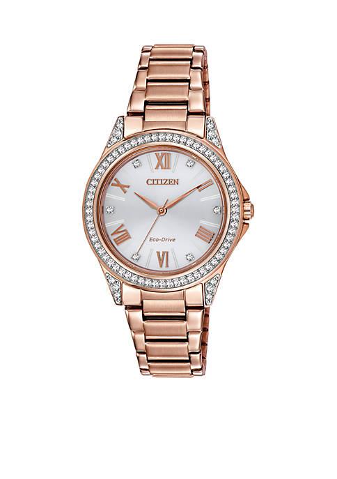 Womens Pink Gold-Tone Stainless Steel Swarovski Watch