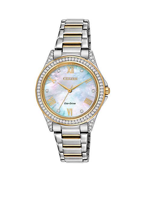 Citizen Womens Two Tone Stainless Steel Swarovski Watch