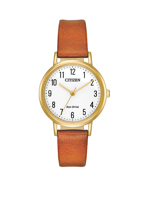 Citizen Womens Stainless Steel Eco Drive Leather Strap