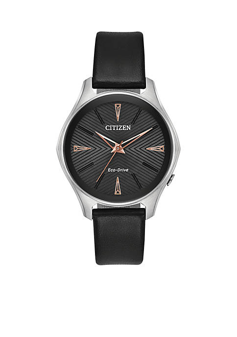 Womens Citizen Eco-Drive Stainless Steel Watch and Black