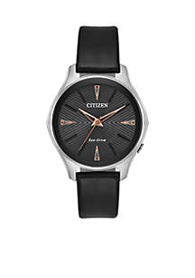 Women's Citizen Eco-Drive Stainless Steel Watch and Black Leather Strap