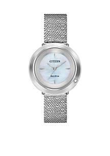 Women's Stainless Steel Eco-Drive L Ambiluna Mesh Bracelet Watch