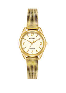 Gold-Tone Stainless Steel Drive from Citizen Eco-Drive Women's Mesh Bracelet Watch