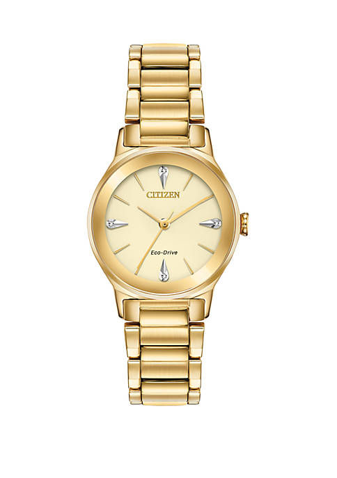 Citizen Axiom Diamond Ladies Gold-Tone Bracelet Watch