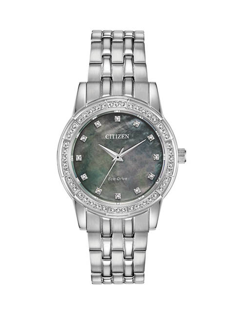 Womens Silver Tone Stainless Steel Crystal Silhouette Watch