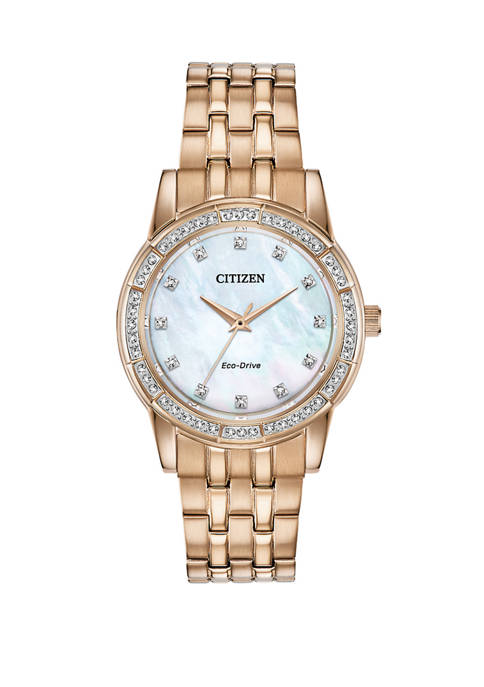 Citizen Womens Silhouette Crystal Rose Gold Tone Stainless