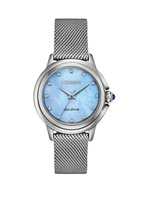 Citizen Womens Ceci Silver-Tone Stainless Steel Bracelet Watch