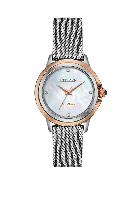 Womens Citizen Ceci Silver-Tone Stainless Steel Bracelet Watch