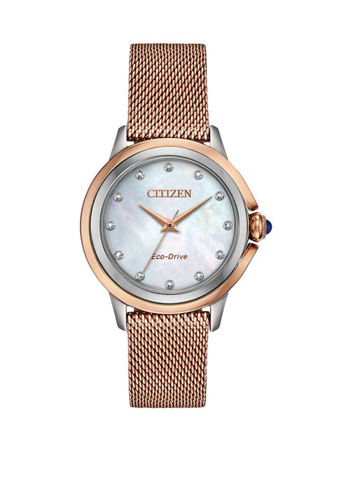 Womens Citizen Ceci Pink Gold-Tone Stainless Steel Bracelet