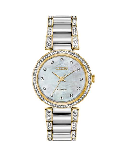Womens Eco-Drive Diamond Dial Two-Tone Watch