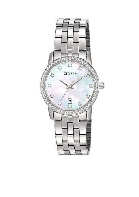 Citizen Womens Swarvoski Crystal Stainless Steel Watch