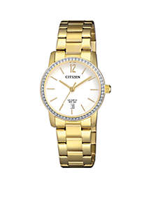 Women's Gold-Tone Stainless Steel Quartz Watch With Date