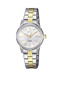 Women's Two-Tone Stainless Steel Quartz Watch With Date
