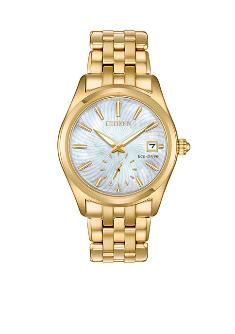 Citizen Womens Gold-Tone Stainless Steel Eco-Drive Corso Bracelet