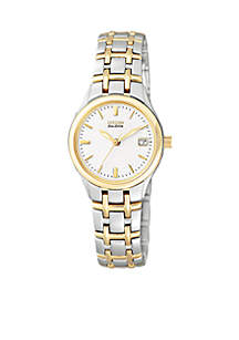Eco-Drive Ladies Two-Tone White Dial Watch