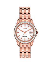 Women's Eco-Drive Pink Gold Tone Stainless Steel Swarovski Watch