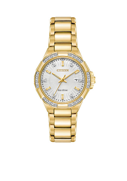 Citizen Womens Gold-Tone Stainless Steel Eco-Drive Bracelet Watch