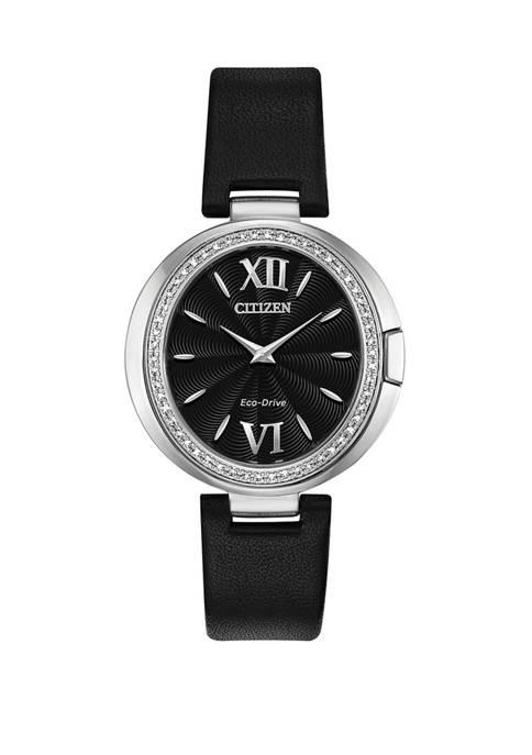 Citizen Womens Capella Black Leather Strap Watch