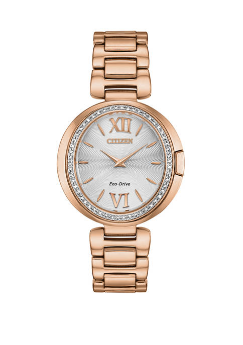 Citizen Womens Capella Pink Gold-Tone Stainless Steel Bracelet