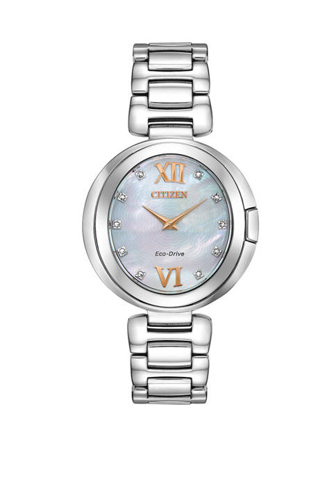 Citizen Womens Capella Silver-Tone Stainless Steel Bracelet Watch