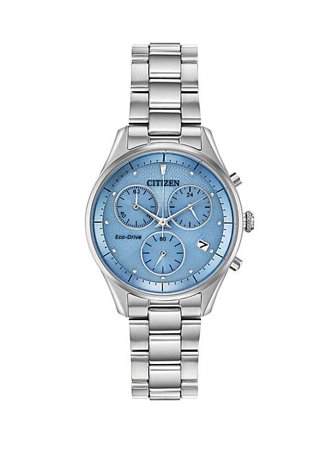 Citizen Eco Drive Ladies Chronograph Stainless Steel Bracelet