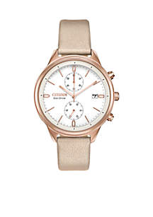 Eco-Drive Chandler Chronograph Silver-tone Faux Leather Watch